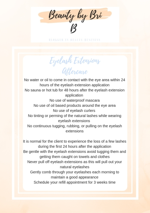 Eyelash Extension Aftercare Sheet